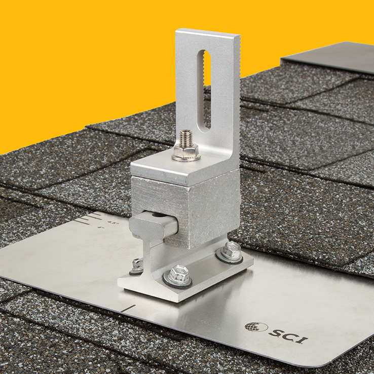 Asphalt Shingle PowerMount with Universal L-Foot